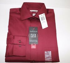 NWT VAN HEUSEN 15.5 32/33 Mens Bordeaux Flex Collar CLASSIC FIT Dress Shirt