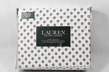 Ralph Lauren Four Piece Full Sheet Set Brown Dots 100% Cotton New