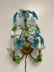 MID CENTURY MODERN  GLASS  FLOWERS  CRYSTAL & METAL SCONCE