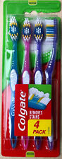 Colgate Toothbrush Premier Clean - Removes Stains - Medium Bristles - Pack of 4