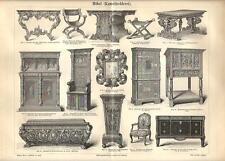 Stampa antica MOBILI DECORATI TAVOLI SEDIE STIPITI 1890 Old antique print