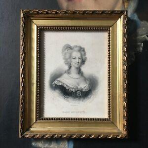 Marie Antoinette Gravure Cadre Bois Doré XIXè - French Frame 19thC
