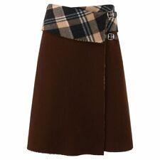"""ALEXANDER McQUEEN A/W 2000 """"Eshu"""" Brown & Plaid Boiled Wool Fold Top Wrap Skirt"""