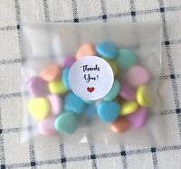 96 Matte Self Adhesive Plastic Bags Thank You Stickers Party Wedding Favours
