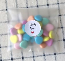 100 Matte Self Adhesive Plastic Bags Thank You Stickers Party Wedding Favours