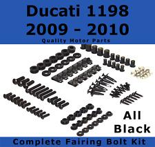 Complete Black Fairing Bolt Kit body screws fastener for Ducati 1198 2009 - 2010