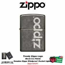 Zippo Trendy Logo, Floral Design, Black Ice, Engraved, Lighter #29241