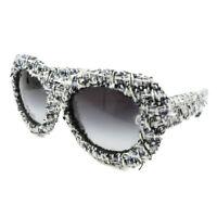 CHANEL CC Logos Tweed Sunglasses Eye Wear BC10718883 Black White JT09029a