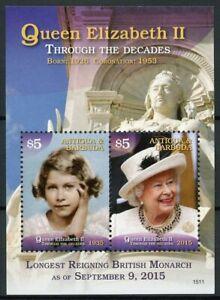 Antigua & Barbuda Royalty Stamps 2015 MNH Queen Elizabeth II Longest Reign 1v SS
