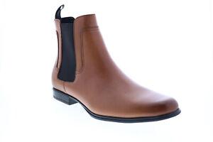 Calvin Klein Declan Crust Leather 34F2238-RUS Mens Brown Slip On Chelsea Boots