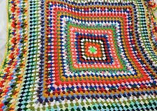 Crocheted Afghan Throw Blanket Granny Square Multi Color Handmade Bright 60x60