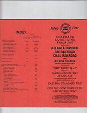 1981 Seaboard Coast Line Railroad Atlanta Division #7 ETT