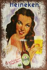 Vintage look Heineken Beer Advert Retro style Metal Sign, pub, bar, mancave