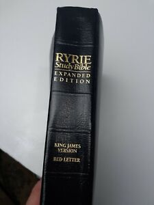 Ryrie Study Bible Moody Press 1994 Black Leather Expanded Edition KJV Red Letter