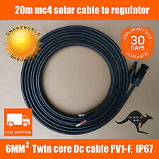 20m Twin Core 6mm2 50A Mc4 Extension Cable from PV Solar Panel to regulator