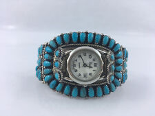 Stunning Native American Sterling Silver and Turquoise Watch Statement Ladies _