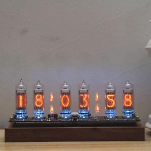 Vintage Wooden Desk Nixie Tubes Clock DIY Kit For IN-14 Nixie 12/24 Hour No Tube