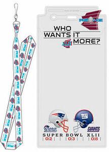 2008 NFL Super Bowl XLII Lanyard Ticket Holder & Pin - NE Patriots vs NY Giants