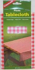 """Coghlans Red White Checked Gingham Vinyl Tablecloth 54"""" X 72"""" Camping Picnic BBQ"""