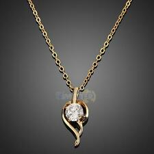 18k Gold Filled Jewelry Feather Crystal Necklace Fashion Woman Pendant Chain
