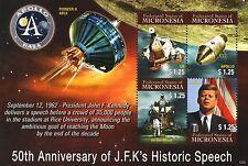 JFK KENNEDY Moon Speech/Apollo/Lunar M/Pioneer 0 Space Stamp Sheet (Micronesia)
