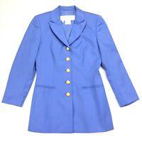 VTG Escada Women's Wool Gold Button Formal Jacket Blazer Powder Blue • Size 34