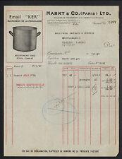 """PARIS (XI°) USINE d'USTENSILES de CUISINE en Email KER """"MARKT & Co"""" en 1935"""
