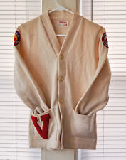 vtg WILSON LETTERMAN SWEATER - SMALL Made in USA Fitness Merit Patch varsity