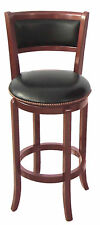 24''SEAT HIGH CLASSIC LOOKING WOOD-LEG SWIVEL BAR STOOL-IN CHERRY FINISH-ASDI