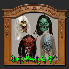 SET OF 4 SHRUNKEN HANGING MONSTER HEADS Halloween Prop