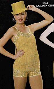 Jazz Dance Costume Artstone Gold Tap Skate fringe romper Golden Girl