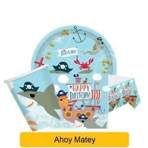 AHOY MATEY Birthday Party Range - Kids Pirate Tableware Supplies Decorations