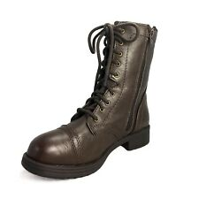 Faux Leather Boots lace up Cuban Heel Chelsea Winter Chunky Womens Shoes 4.5
