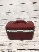 Vintage Samsonite Profile II Maroon Train Makeup Mirror Luggage Hard Travel Case
