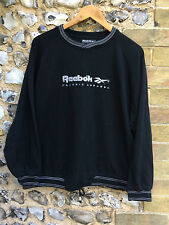 VTG WOMENS REEBOK SWEATER BLACK JUMPER TOP LARGE UK 16 PULL OVER CREW SPELL OUT