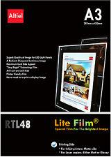 RTL48: A3 x 10 S-Jet d'encre Premium Rétroéclairé Papier/Rétroéclairé Film (translucide)