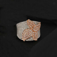 14k Rose & White Solid Gold Pave Natural Diamond Statement Ring Fine Jewelry NEW