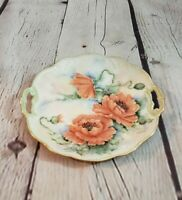 Vintage Peach Poppy Hand Painted Signed Serving Plate Handles N. Bartlett