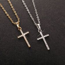 Women Gold or White Gold Plated Small CZ Crystal Cross Pendant Elegant Necklace