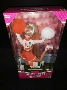 University of Miami Cheerleader Barbie Bend And Move Body 1996  #17794 NRFB