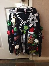 TACKY UGLY FUN CHRISTMAS LIGHT UP WOMEN'S BUTTON UP SWEATER CARDIGAN SIZE M 8-10