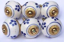 placard céramique poignées boutons bleu et blanc rond (Raccords laiton) x 6