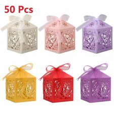 50Pcs Love Heart Laser Cut Candy Favor Gift Boxes W/Ribbon For Wedding Party