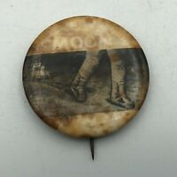 "Vintage Moon Landing 1-3/4"" Button Pin Pinback Bad Condition NASA Walk   F2"