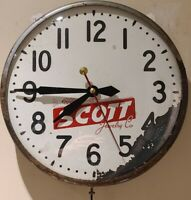 Vintage 1950's SCOTT JEWELRY COMPANY Convex Bubble Glass Advertising Wall Clock
