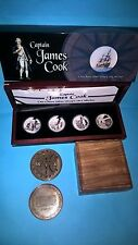 2009 $1 CAPTAIN JAMES COOK 4  SILVER PROOF COINS COLLECTION SET +BRASS COMPASS