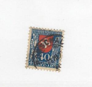 SWITZERLAND (MK6629) # B24 VF-USED 40c 1922 SWITZERLAND CREST /BLUE,RED  CV $48