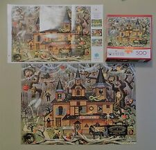 500 Piece Wysocki Buffalo Games Puzzle Trick or Treat Hotel with Poster Complete