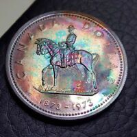 Toned Silver 1973 Canada Specimen Dollar