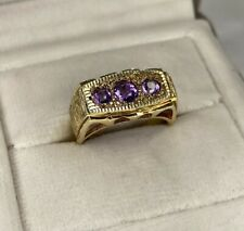 9ct Yellow Gold Vintage 3 Stone Amethyst Gypsy Setting 1971 Ring O UK Hallmarked